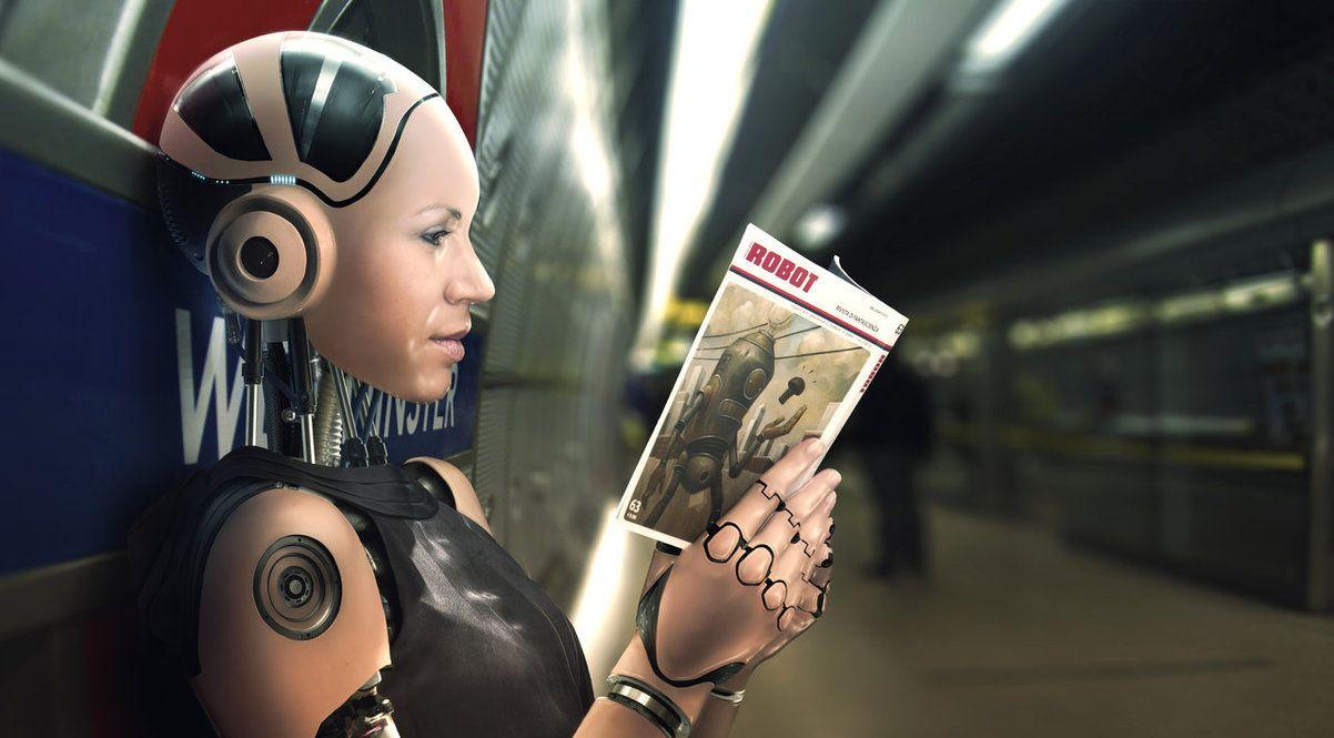 devianart-D4N13I3. Androide leyendo una revista sobre robots
