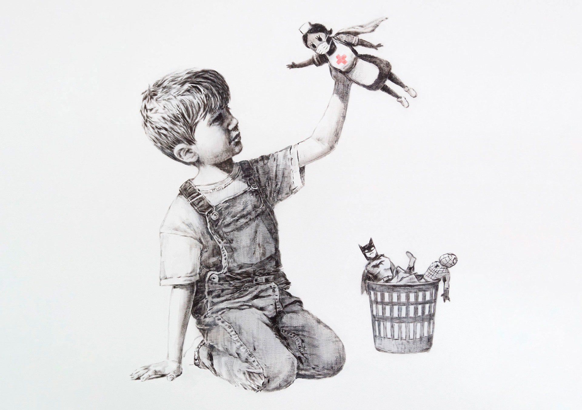 Obra del artista británico Banksy como homenaje al trabajo de los sanitarios durante la pandemia.