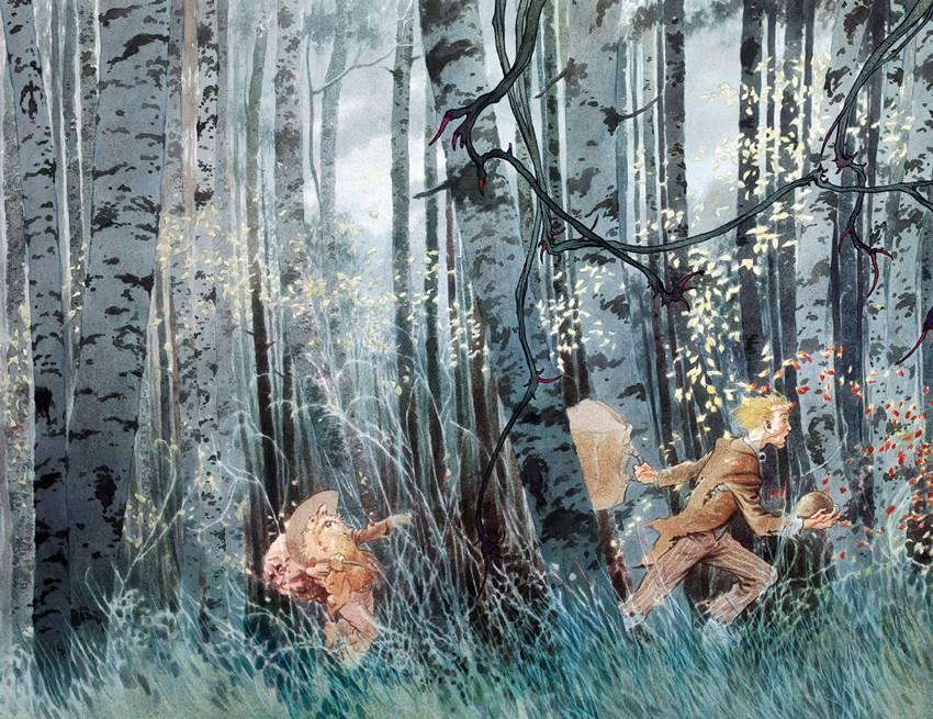 Tristran y su guía, atravesando un bosque de peligros
