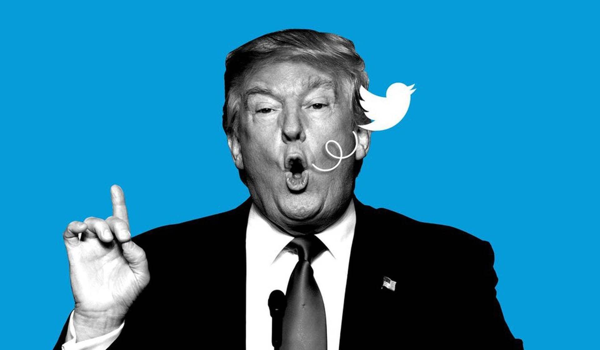 Ilustración de Donald Trump y Twitter.