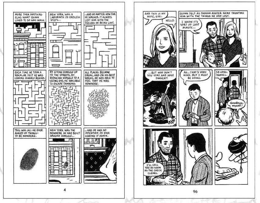 La Ciudad de cristal, guion de Paul Karasik y dibujo de David Mazzucchelli.