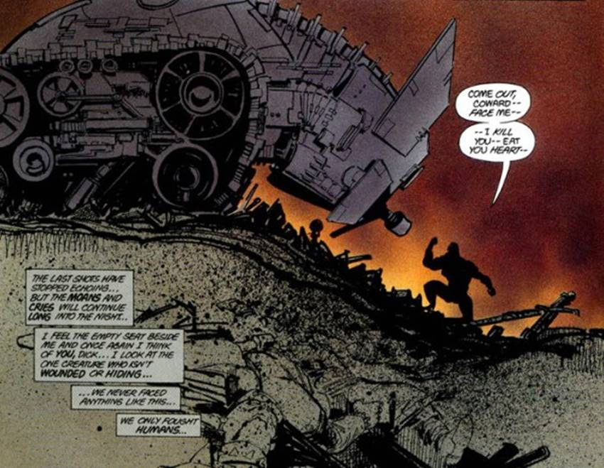 El batmóvil de Batman en Dark Knight de Frank Miller