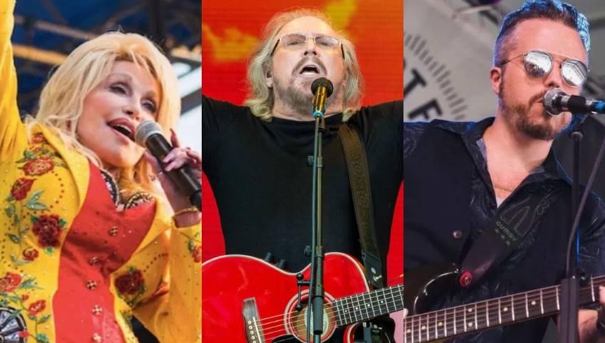 Dolly Parton (foto de Ben Kaye), Barry Gibb (foto de Nathan Dainty), Jason Isbell (foto de Ben Kaye)