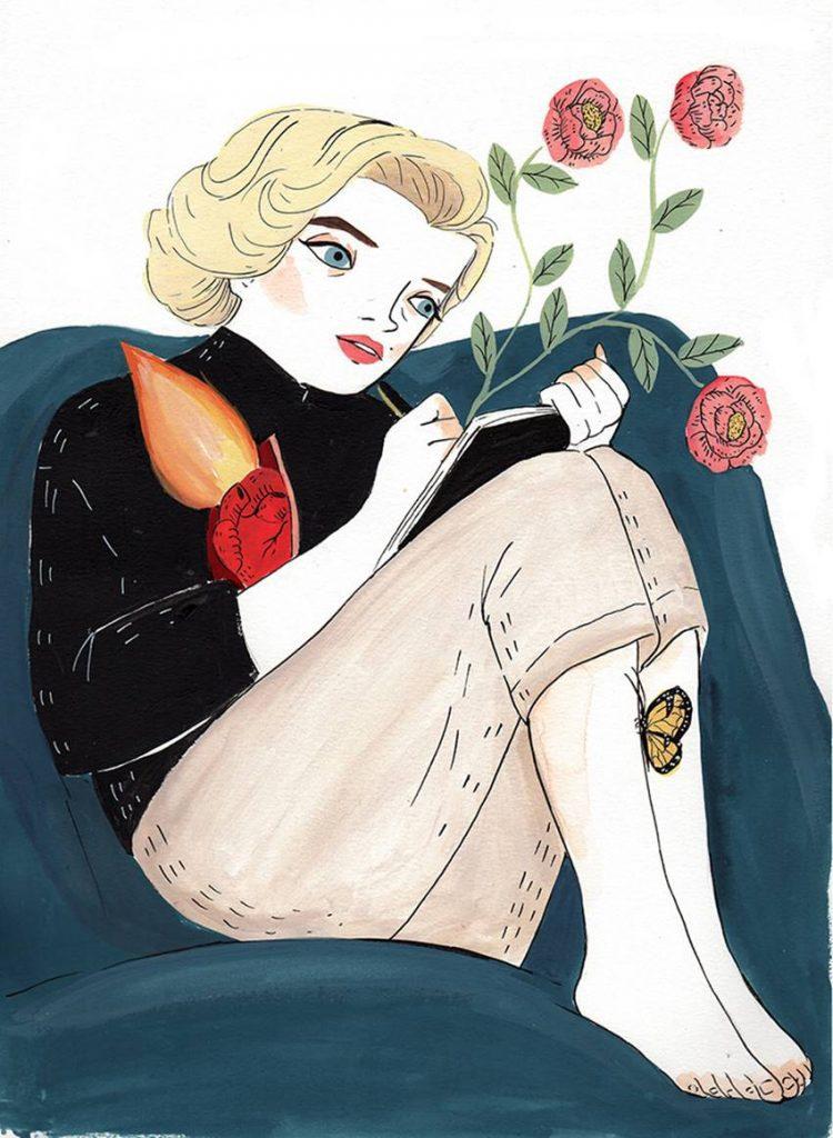 Ilustración de Marilyn, una biografía de María Hesse.