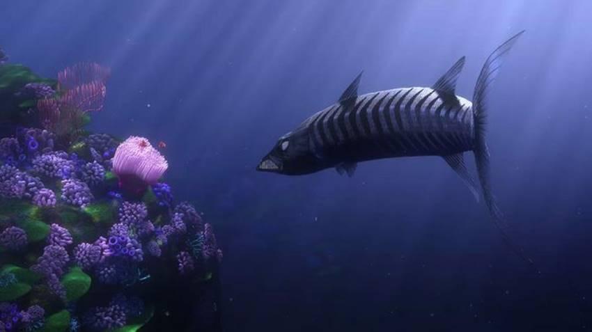 Marlin y Coral atentos al ataque de la barracuda en Buscando a Nemo
