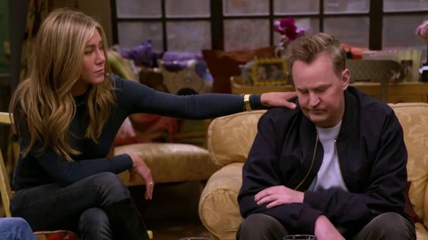 Jennifer Aniston y Matthew Perry durante Friends: The Reunion.