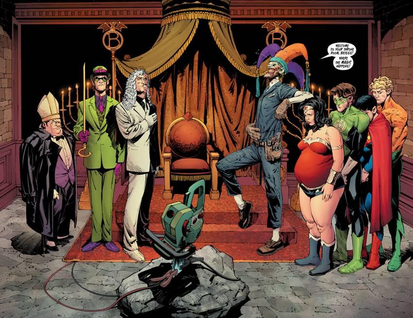 El Pingüino, El Acertijo y Dos Caras junto al Joker en La muerte de la familia.