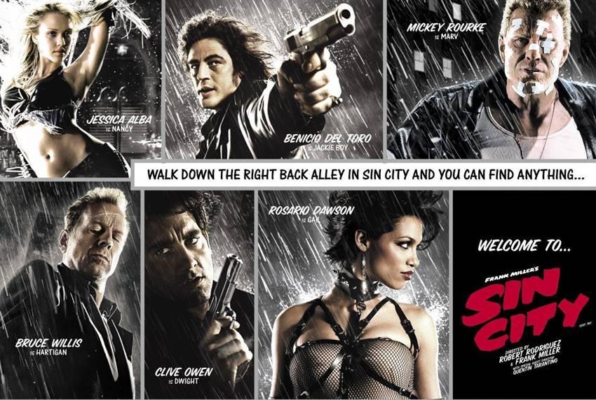 Parte del impresionante reparto de Sin City.