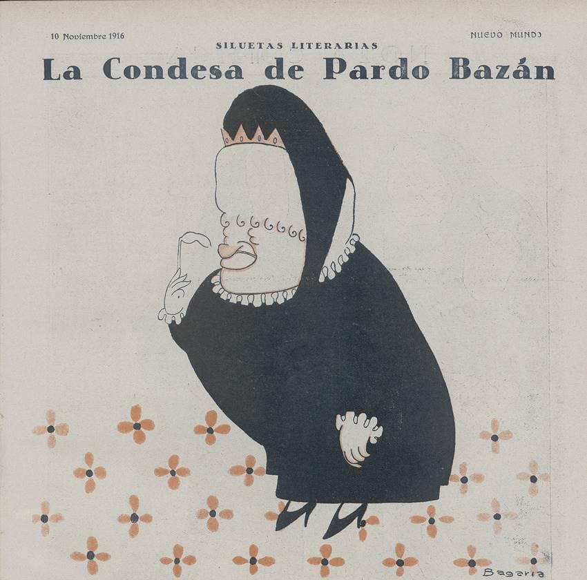 """""""La condesa de Pardo Bazán"""", caricatura de Luis Bagaría. Nuevo Mundo, Madrid, 10 de noviembre de 1916. Biblioteca Nacional de España. Madrid.  D/13931 (2)"""