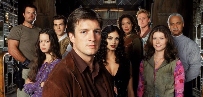 Malcom Reynolds y su tripulación en Firefly.