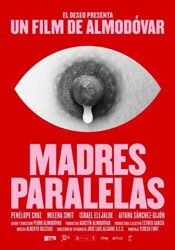Póster de la película Madres Paralelas diseñado por Javier Jaen. ©El Deseo.