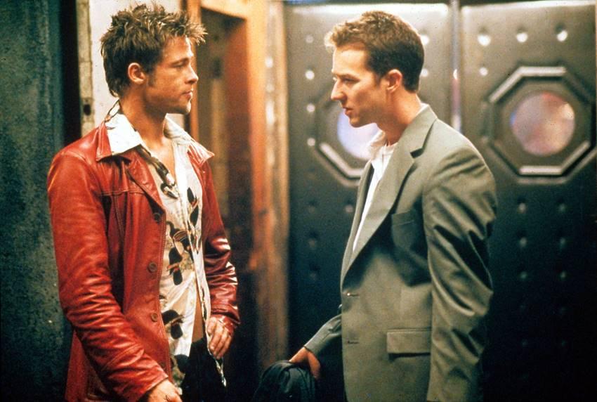 Brad Pitt y Edward Norton en  El Club de la lucha.