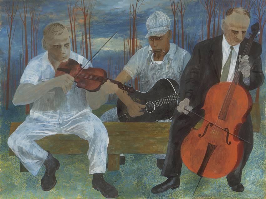 Orquesta de cuatro instrumentos. Obra de Ben Shahn. Museo Thyssen.